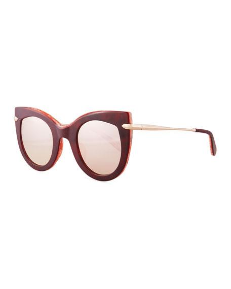KREWE Breton Polarized Aviator Sunglasses, Blond Tortoise