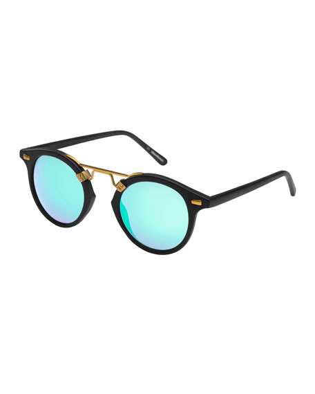 St. Louis Round Mirrored Sunglasses, Matte Black