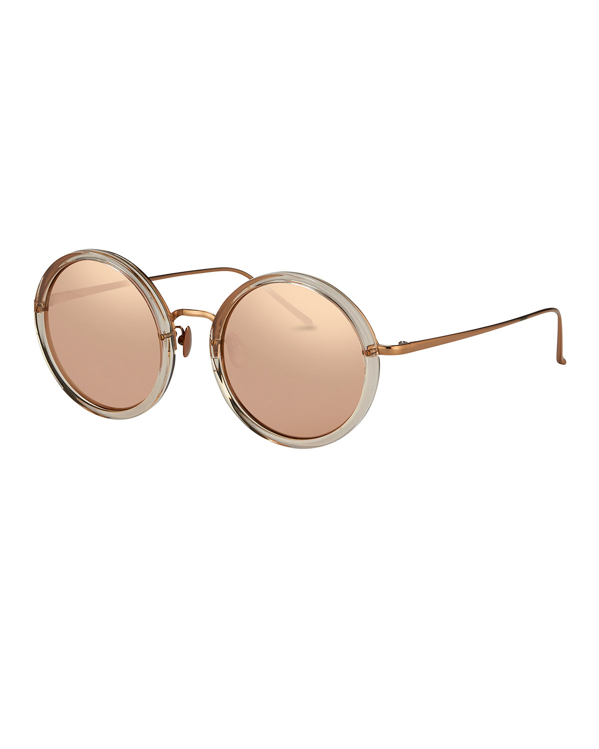 a7892baaabc9 Linda Farrow Trimmed Round Mirrored Sunglasses