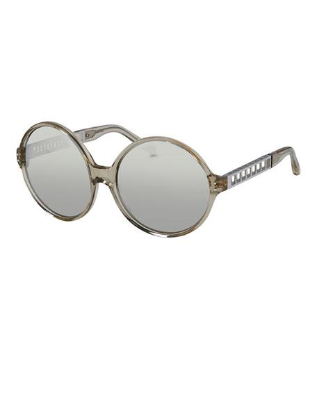 Linda Farrow Round Acetate & Metal Sunglasses, White