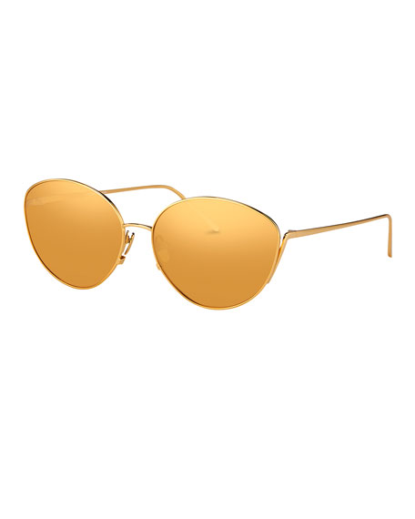 Linda Farrow Mirrored Oval Sunglasses, Yellow Gold