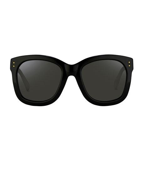 Square Monochromatic Sunglasses, Black/Gold