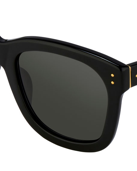 Linda Farrow Square Monochromatic Sunglasses, Black/Gold
