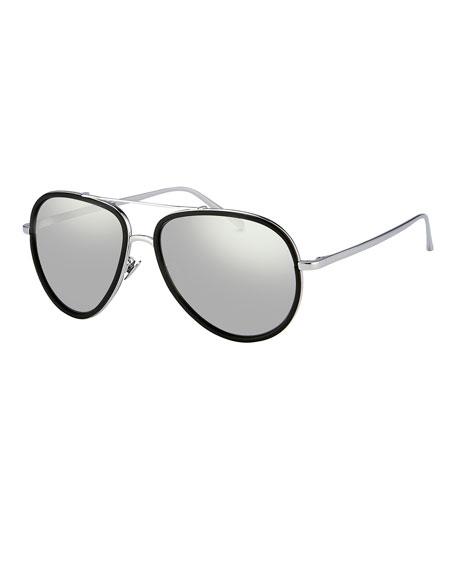 white aviator glasses  Linda Farrow Two-Tone Aviator Sunglasses, White Gold/Platinum
