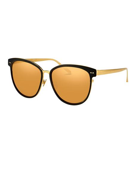 Linda Farrow Square Two-Tone Sunglasses, Yellow Gold/Black