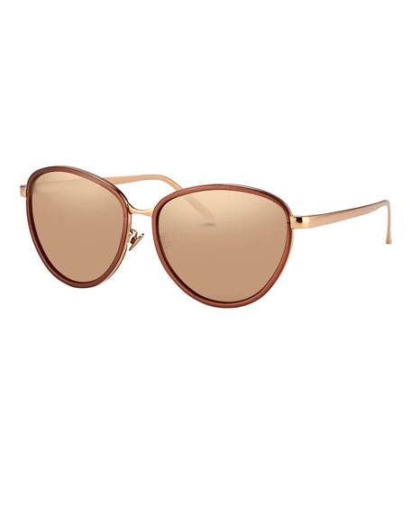 Linda Farrow Rounded Cat-Eye Two-Tone Sunglasses, Rose Gold