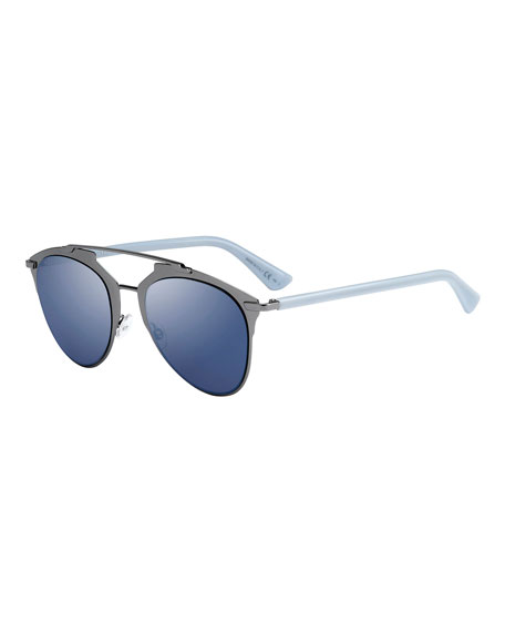 30faea05af Dior Reflected Mirrored Metal Brow-Bar Sunglasses
