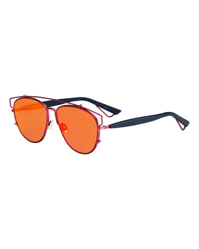 Technologic Mirrored Metal Sunglasses, Matte Red/Blue