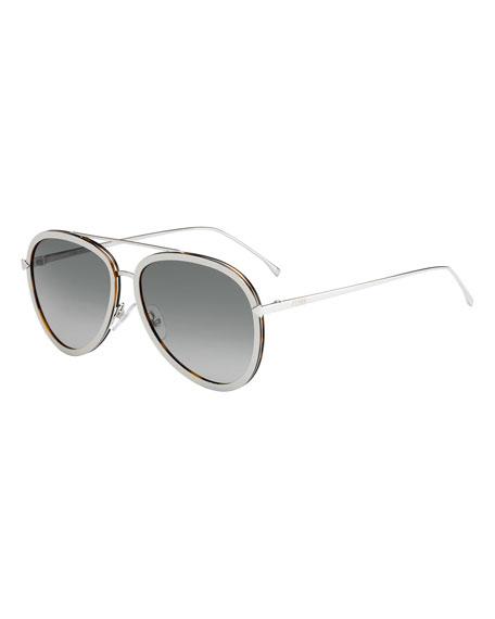 Trimmed Gradient Aviator Sunglasses, Beige