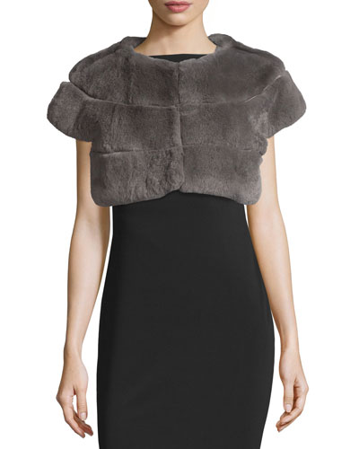 Leather-Trim Rabbit Fur Bolero, Gray