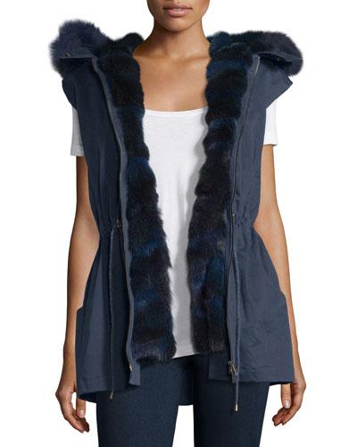 Twill Fur-Trim Drawstring Vest, Navy