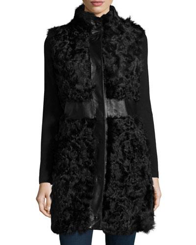 Kalgan Lamb Leather-Trim Vest, Black