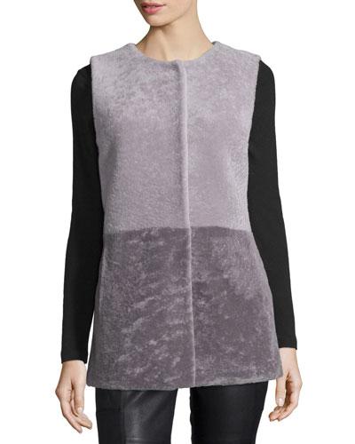 Colorblock Shearling Vest, Gray