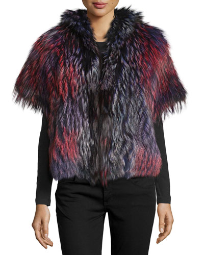 Short-Sleeve Boxy Fox Fur Jacket, Multicolor