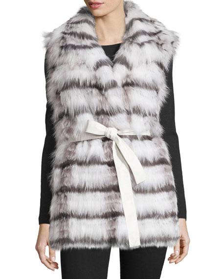 Tasha Tarno Belted Fox Fur Vest, White/Silver