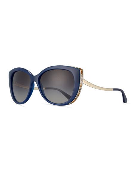 Etched Gradient Cat-Eye Sunglasses, Black