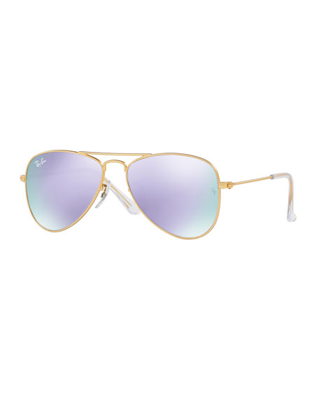 Ray-Ban JuniorIridescent Aviator Sunglasses, Gold/Lilac