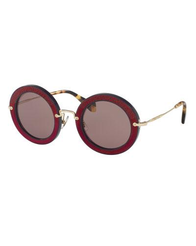 Round Embossed Velvet Sunglasses, Violet