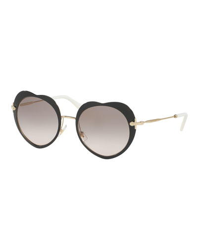Mirrored Heart Sunglasses, Black