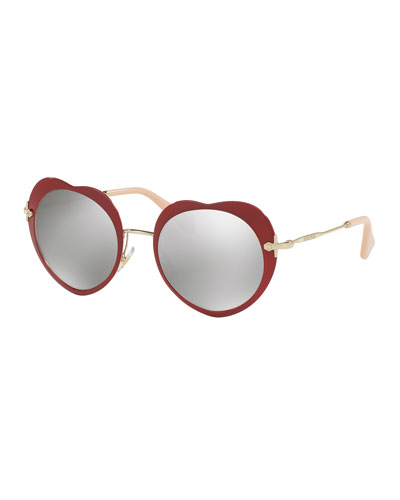 Mirrored Heart Sunglasses, Red
