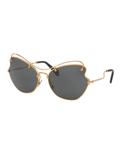 Gradient Waved Metal Sunglasses, Gold/Gray