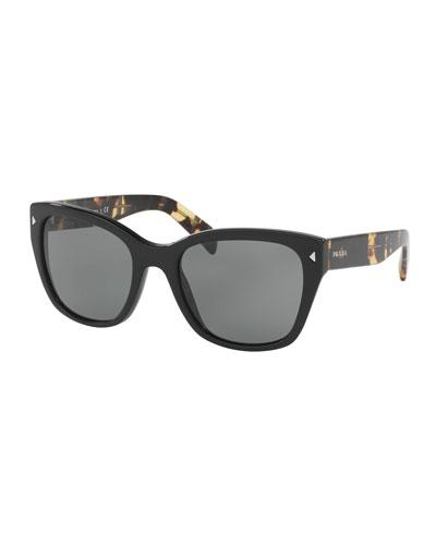 Printed Monochromatic Square Sunglasses, Black