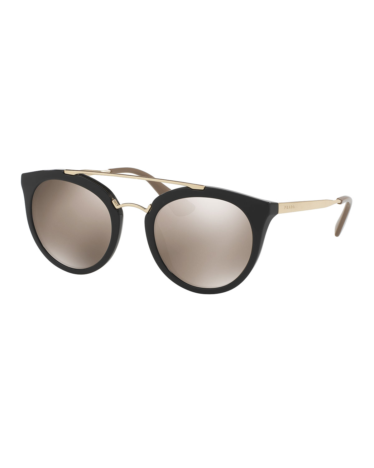 4c97c8484ca Prada Mirrored Cat-Eye Double-Bridge Sunglasses