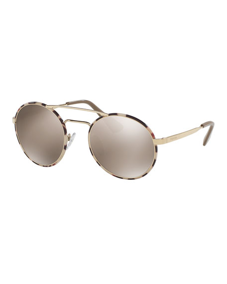 Prada Trimmed Mirrored Round Sunglasses, Gold/Tortoise