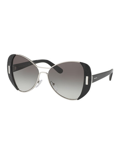 Capped Gradient Butterfly Sunglasses, Black