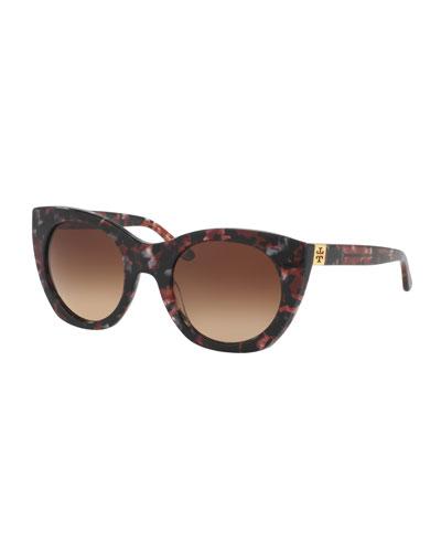 Rounded Cat-Eye Logo-Temple Sunglasses, Port Tortoise
