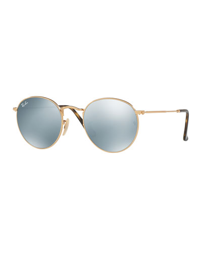 Mirrored Round Flash Sunglasses, Gold/Gray