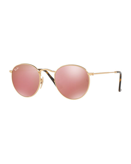 Mirrored Round Flash Sunglasses, Gold/Copper