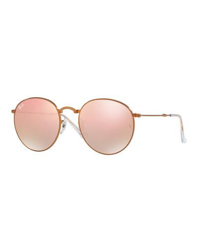 Iridescent Round Flash Sunglasses, Copper/Bronze