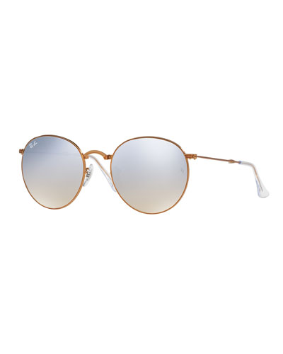 Iridescent Round Flash Sunglasses, Gray/Bronze