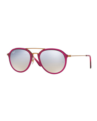 Mirrored Aviator Flash Sunglasses, Fuchsia