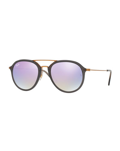 Mirrored Aviator Flash Sunglasses, Gray/Purple