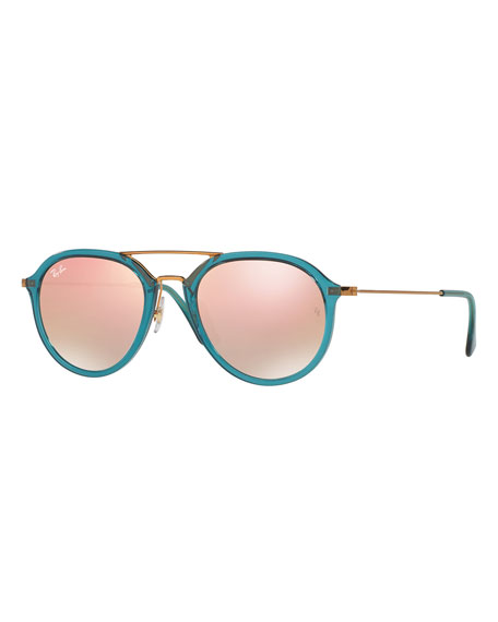 Mirrored Aviator Flash Sunglasses, Turquoise