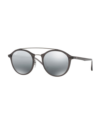 Round Mirrored Double-Bridge Sunglasses, Gray