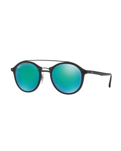 Round Iridescent Double-Bridge Sunglasses, Black/Green