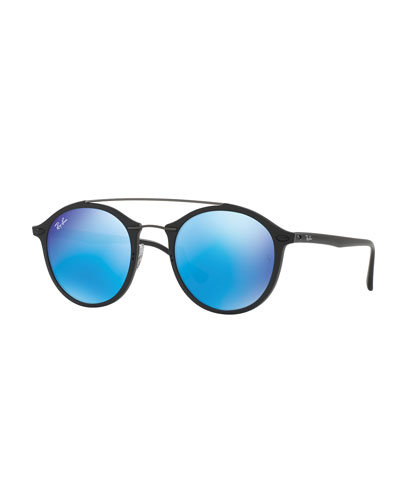 Round Iridescent Double-Bridge Sunglasses, Black/Blue