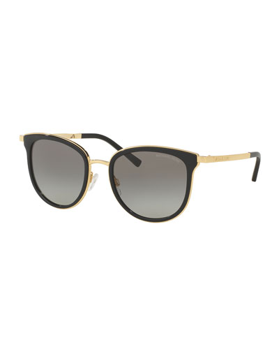 Square Floating-Lens Sunglasses, Black/Gray/Gold