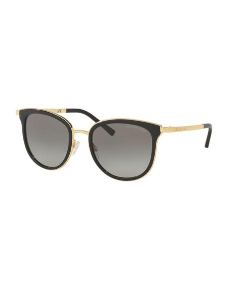 Square Floating-Lens Sunglasses, Black/Gray/Gold