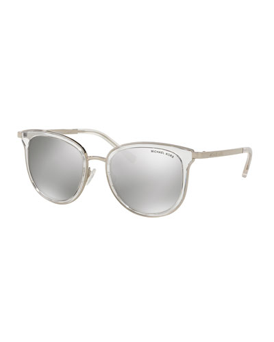 Mirrored Transparent Square Sunglasses, Clear/Silver