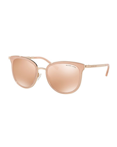 Mirrored Square Sunglasses, Rose Gold