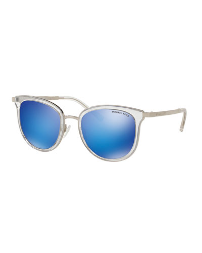 Mirrored Transparent Square Sunglasses, Clear/Teal