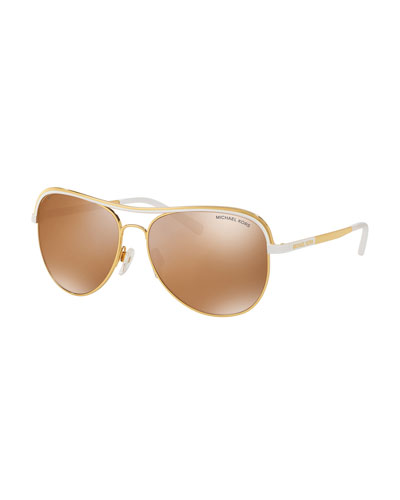 Metal Mirrored Aviator Sunglasses, Gold/White