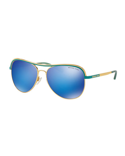 Metal Mirrored Aviator Sunglasses, Gold/Turquoise