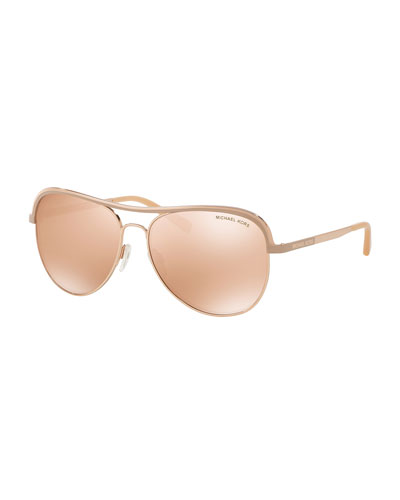 Metal Mirrored Aviator Sunglasses, Rose Gold/Beige