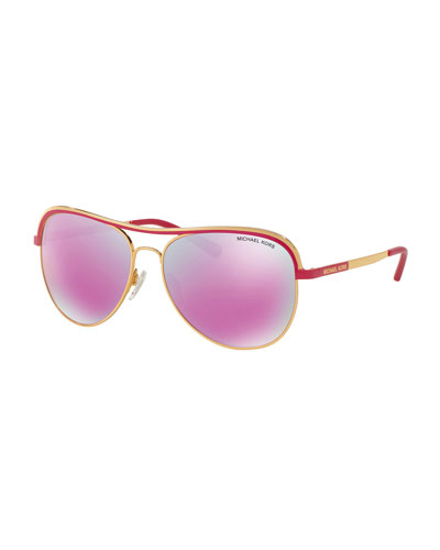 Metal Iridescent Aviator Sunglasses, Gold/Fuchsia
