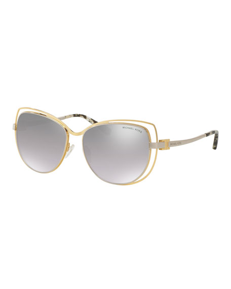 Michael Kors Wire-Rim Mirrored Cat-Eye Sunglasses, Gold/Silver